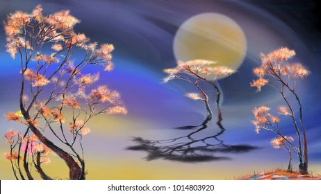 Tranquil landscape with moon and three trees
