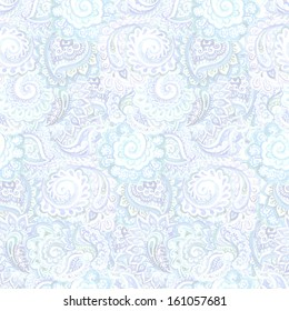 Tranquil peaceful light cyan seamless ornamental indian background