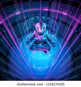 Tranquility datasphere astronaut / 3D illustration of astronaut in lotus pose inside glowing cyber environment