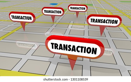 Transactions Sold Homes Houses Map Pins 3d Illustration