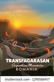 Transfagarasan Romania travel poster of the famous road.