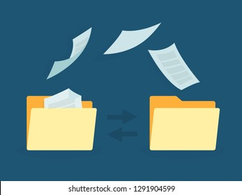 Transfer of documentation. Folders with paper files.