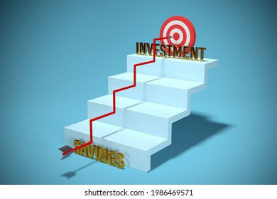 Transform savings to investment concept. Motivation for conservative investors to do step up to change savings to investment to growth of capital and asset. Financial concept with stairs, 3D render.