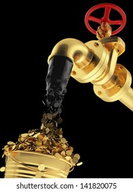 Transformation of oil (petroleum) directly into money. Business concept. Black gold. Mineral mining as it is. Isolated on black. cash pipeline