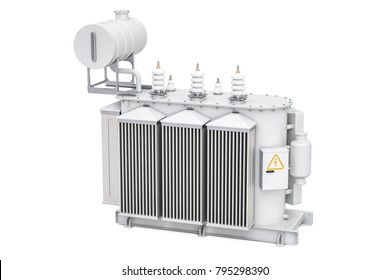 Transformer oil, high voltage power transformer. 3D rendering isolated on white background