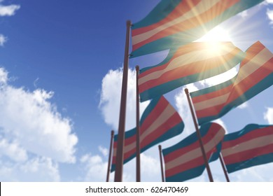 Transgender flags waving in the wind against a blue sky. 3D Rendering