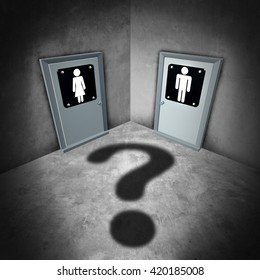 Transgender issues concept and gender identity symbol or sex reassignment idea as female and male bathroom doors with a question mark shadow as a sexual confusion metaphor as a 3D illustration.