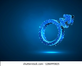 Transgender male or female symbols. Wireframe digital 3d illustration. Low poly, men and women transsexuality concept on blue background. Abstract Raster polygonal neon LGBT sign. RGB color mode