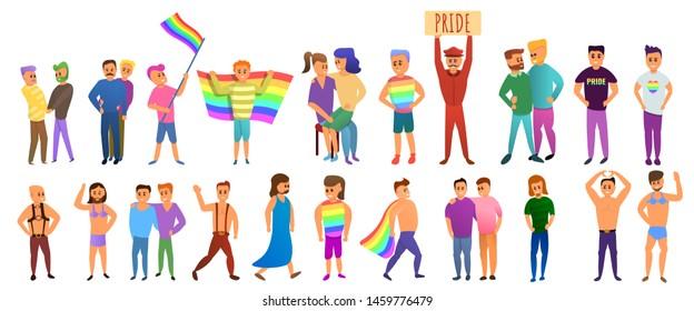 Transgender people icons set. Cartoon set of transgender people icons for web design
