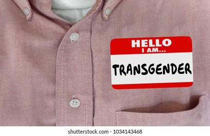 Transgender Sexual Identity Name Tag Sticker 3d Illustration