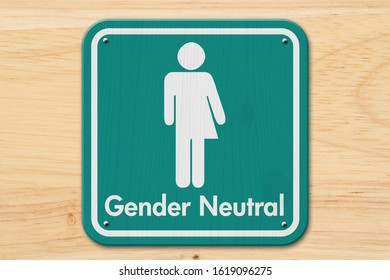 Transgender sign, Teal and white sign with a transgender symbol with text Gender Neutral on wood