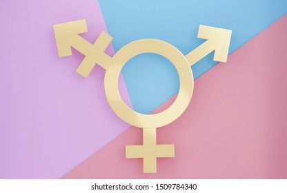 Transgender symbol, Abstract Male and Female 3d golden icon homosexuality symbols and signs on pink, blue, purple background. Concept of choice or gender confusion or dysphoria. 3d illustration