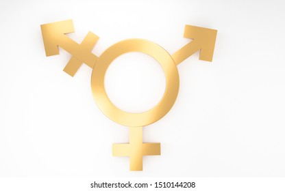 Transgender symbol, Abstract Male and Female 3d golden icon homosexuality symbols and signs on white background. Concept of choice or gender confusion or dysphoria. 3d illustration