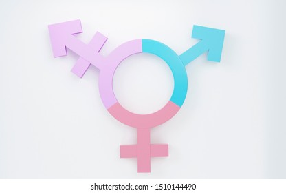 Transgender symbol, Abstract Male and Female 3d pink, blue, purple icon homosexuality symbols and signs  on white background. Concept of choice or gender confusion or dysphoria. 3d illustration