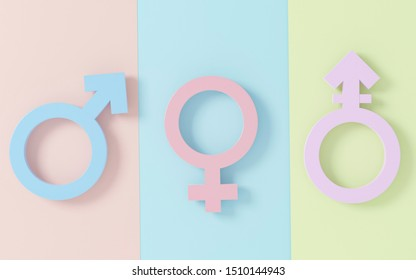Transgender symbol, Abstract Male and Female 3d pink, blue, purple icon homosexuality symbols and signs on pastel  background. Concept of choice or gender confusion or dysphoria. 3d illustration