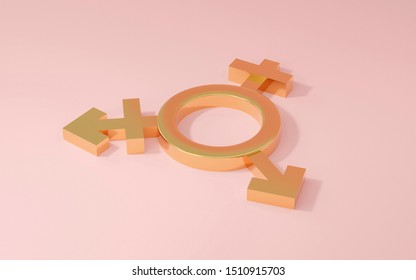 Transgender symbol, Abstract Male and Female 3d golden icon homosexuality symbols and signs on pink pastel background. Concept of choice or gender confusion or dysphoria. 3d illustration