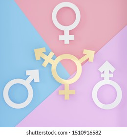 Transgender symbol, Abstract Male and Female 3d white & gold icon homosexuality symbols and signs on pink, blue, purple background. Concept of choice or gender confusion or dysphoria. 3d illustration