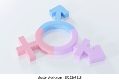 Transgender symbol, Abstract Male and Female 3d pink, blue, purple icon homosexuality symbols and signs on white floor background. Concept of choice or gender confusion or dysphoria. 3d illustration