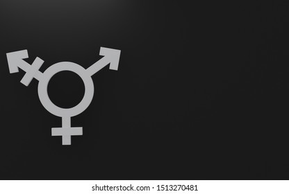 Transgender symbol, Abstract Male and Female 3d white silver icon homosexuality symbols and signs on black background & copy space. Concept of choice or gender confusion or dysphoria. 3d illustration