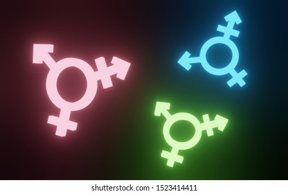 Transgender symbol, Abstract neon light pink, blue, green icon, homosexuality symbols and signs on black background. Concept of choice or gender confusion or dysphoria. 3d illustration