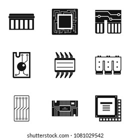 Transistor icons set. Simple style set of 9 transistor icons for web design