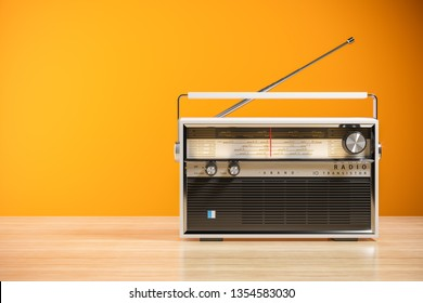 Transistor radio receiver on wood table in home interior. 3d render