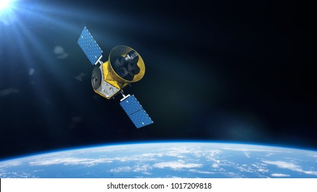 Transiting Exoplanet Survey Satellite (TESS) space telescope in orbit of planet Earth (3d illustration, elements of this image are furnished by NASA)
