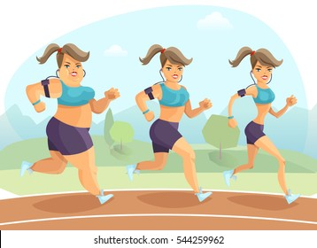 Transition from plump to slim young woman jogging outside on background with trees and mountains cartoon  illustration