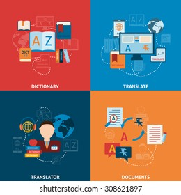 Translation and dictionary foreign language interpretation process elctronic mobile technology four flat icons composition abstract  illustration