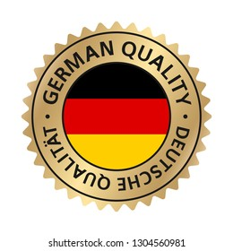Translation: German quality. Badge, label gold gradient.