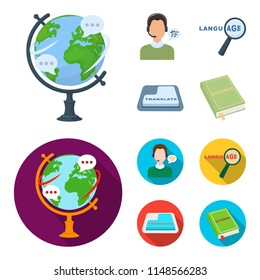 A translator in headphones, a magnifying glass showing translation, a button with an inscription, a book with a bookmark. Interpreter and translator set collection icons in cartoon,flat style bitmap