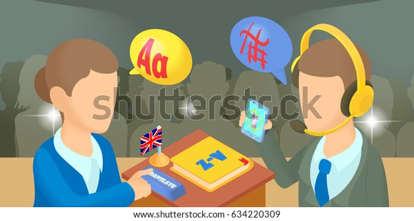 Translator horizontal banner concept. Cartoon illustration of translator  horizontal banner for web