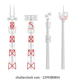 Transmission cellular towers set. Mobile communications tower with satellite communication antennas. Radio tower for wireless connections.