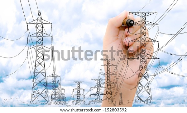 transmission tower sketch with high voltage on blue sky.