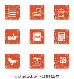 Transmittal icons set. Grunge set of 9 transmittal icons for web isolated on white background