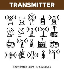 Transmitter, Radio Tower Linear Icons Set. Transmitter and Receiver Thin Line Contour Symbols Pack. Communication Technology Pictograms Collection. Broadcasting Equipment Outline Illustrations