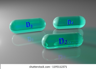 Transpared blue vitamin D2, D3, D4 capsules. Vitamin and mineral complex. Healthy life concept. Medical background. 3d illustration
