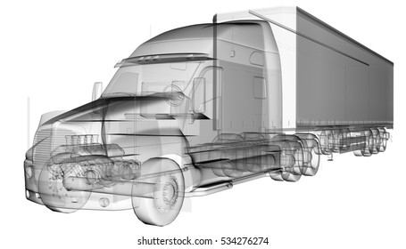 transparent American Truck Trailer, 3D illustration