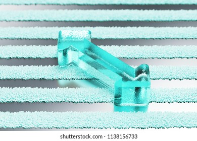 Transparent Aqua Horizontal Arrows Icon on the Silver Stripes Background. 3D Illustration of Aqua Arrows, Bi Directional, Horizontal, Pass Icon Set With Stripe Silver Background.