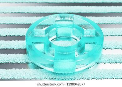 Transparent Aqua Life Ring Icon on the Silver Stripes Background. 3D Illustration of Aqua Floatation Device, Guardar, Life Buoy, Life Ring, Life Save Icon Set With Stripe Silver Background.