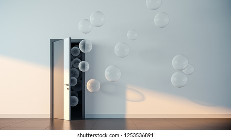 Transparent balloons fly away through open door in office interior. 3D render