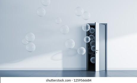 Transparent balloons fly away through open door in office interior. 3D render