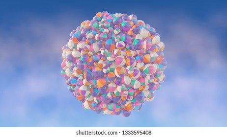 transparent balls in a white and colored checkers pattern against a blue sky with clouds - 3d artwork