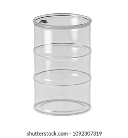 Transparent barrel of oil. Isolated on white background. Orthographic projection.