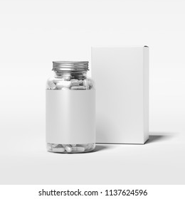 Transparent bottle with white pills and blank label standing next to white box on white background, 3d rendering.