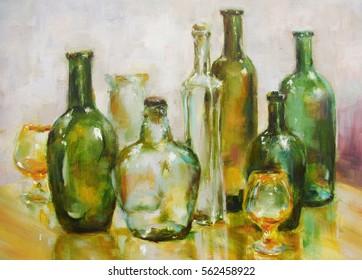 Transparent bottles - still life oil painting