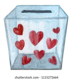 Transparent box full of hearts for donation - Watercolor hand painted illustration isolated on white background