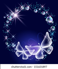 Transparent butterflies and bubbles on the blue background