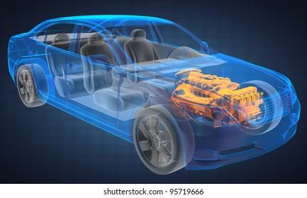transparent car concept made in 3D graphics