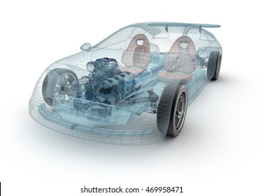 Transparent car design, wire model.3D illustration. My own car design.